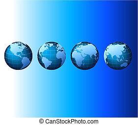 set, serie, globale, -, vettore, mondo