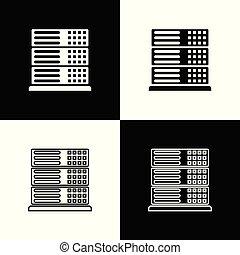 Set Server, Data, Web Hosting icons isolated on black and...