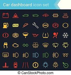 set, servizio, colorito, automobile, -, simboli, interfaccia, vettore, cruscotto, manutenzione, indicatori, icona