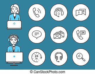 set, servizio, icone, sostegno, vettore, femmina, maschio