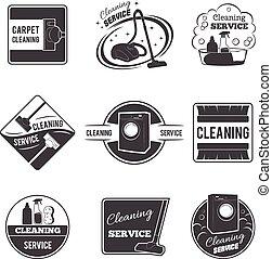 set, servizio, logos, vendemmia, etichette, vettore, pulizia, emblemi