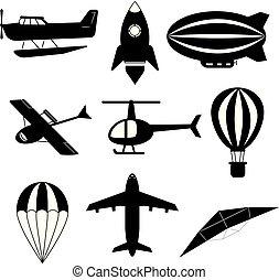 set., set, vervoer, vector., lucht