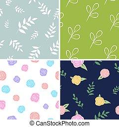set, sfondi, patterns., leaves., imballaggio, floreale, vettore, stampa, fiori