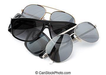 set, sfondo bianco, occhiali, isolato