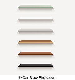 Vector illustration; The space above, Set of Empty Glass, Plastic, Metal, Wood and granite Shelves of the background wall. For product display and advertising and promotional purposes.