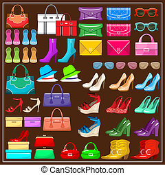 Set shoes, handbags and accessories. vector illustration