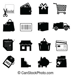 set, shoppen , verwant, pictogram
