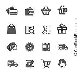 set., shopping, ícones