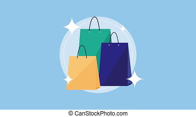set shopping bags commerce animation ,4k video animated