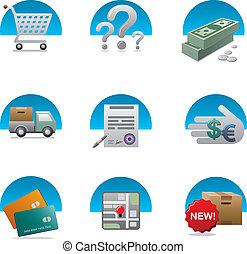 set, shopping, icona