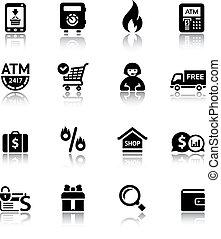 set, shopping, icone