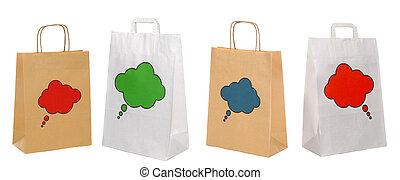 set, shopping, isolato, borsa, carta, bianco