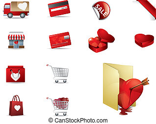 set, shopping, valenintes, giorno, icone