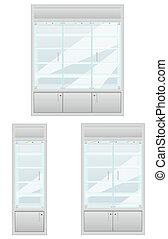 set showcase of shop equipmentl vector illustration isolated...