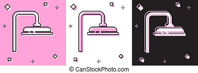 Set Shower head with water drops flowing icon isolated on pink and white, black background. Vector Illustration