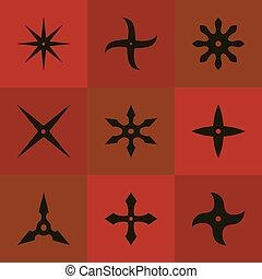 Set shuriken of ninja. Black icon. Vector illustration - Set...