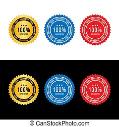 Set sign 100 percent satisfaction guarantee. Flat vector illustration EPS 10