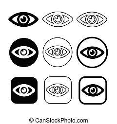 Set sign of Eye icon