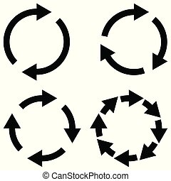 Set sign reload refresh icon, spinning arrows in a circle, vector symbol sync, renewable crypto exchange, change renew vector