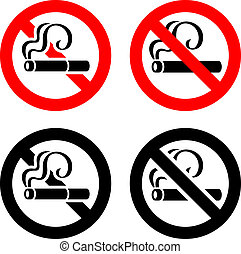 Set signs - No smoking - Smoking area set symbols, not...