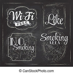 Set signs Wi fi drawing chalk