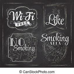 Set signs Wi fi drawing chalk