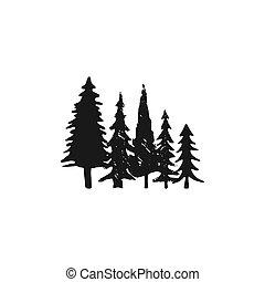 set, silhouette, albero pino, isolato, illustrazione, mano, fondo., vettore, albero, sketched, monocromatico, bianco, simbolo, style., casato