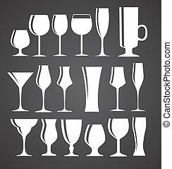 set, silhouette, alcolico, illustrazione, vetro, vettore, nero, eps1
