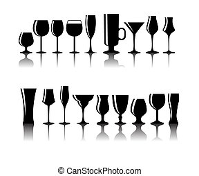 set, silhouette, alcolico, illustrazione, vetro, vettore, nero