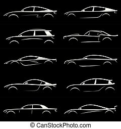 set, silhouette, auto, achtergrond., black , witte