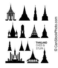 set, silhouette, boeddhist, pagodas, voorwerpen, thailand