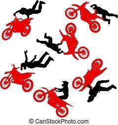 set, silhouette, compiendo, trucco, motocicletta, fondo, bianco, cavaliere