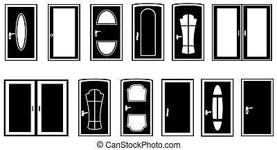 set, silhouette, deuren