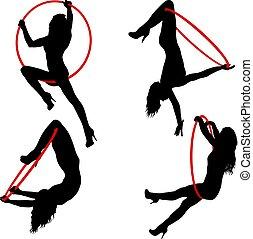 set, silhouette, donna, fare, un po', acrobatico, elementi, aereo, cerchio, su, uno, sfondo bianco