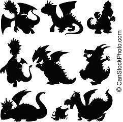 Set silhouette dragon on white background