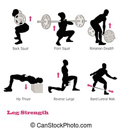 set, silhouette, excercise, illustratie, vector, muscle,...