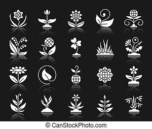 set, silhouette, giardino, icone, vettore, bianco
