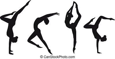 set, silhouette, ginnastico, isolated., ragazze, vettore, nero