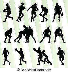 set, silhouette, giocatore, vettore, fondo, rugby, uomo