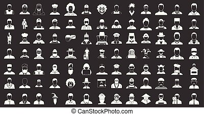 set, silhouette, grijze , vector, man, pictogram