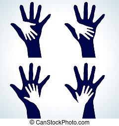 set, silhouette, handen