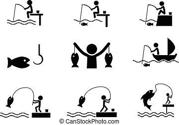 set, silhouette, iconen, vector, visserij, stijl