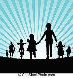 set, silhouette, natuur, twee, illustratie, kinderen