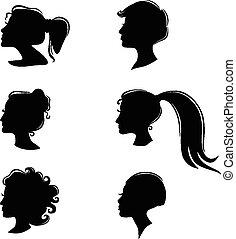 Set silhouette of a beautiful woman profiles