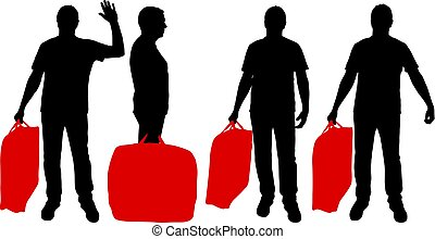 Set silhouette of a man with a briefcase in hand, on a white background