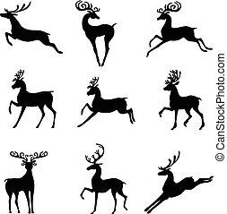 Set silhouette of Christmas deer