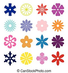 Set silhouette of  multicolor flower