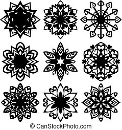 Set silhouette of snowflakes icons on white background