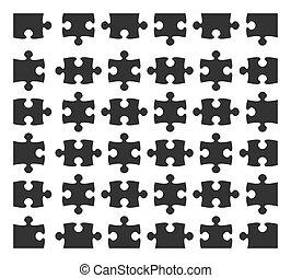 set, silhouette, raadsel, jigsaw, communie, ontwerp, deel