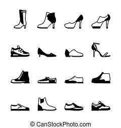 set, silhouette, scarpe
